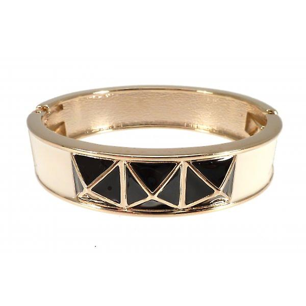 W.A.T Gold Style Bangle In Cream With Black Enamel Stud Detail
