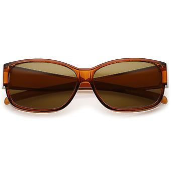 Oversize Thick Rectangle Sunglasses Polarized Lens With Tapered Wide Arms 59mm