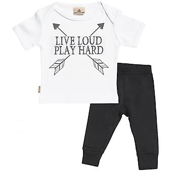 Spoilt Rotten Live Loud Baby T-Shirt & Baby Jersey Trousers Outfit Set