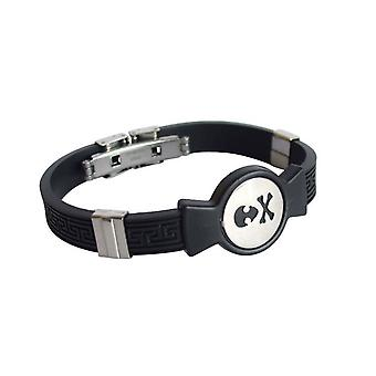 Unisex bracelet stainless steel and PU black for ladies & gentlemen