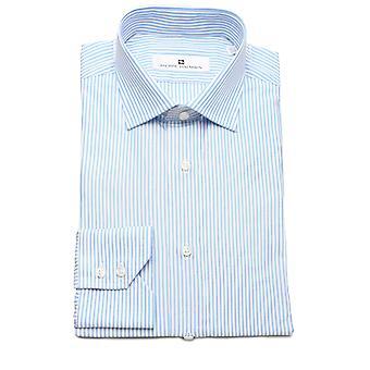 Pierre Balmain Men Slim Fit Cotton Dress Shirt Stripe White Blue