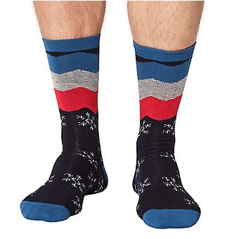 Snowflake men's Christmas bamboo crew socks in navy | By Thought