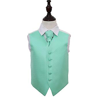 Boy's Mint Green Greek Key Patterned Wedding Waistcoat & Cravat Set