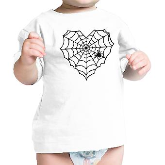 Heart Spider Web Baby Tshirt White Funny Infant Tee For Halloween