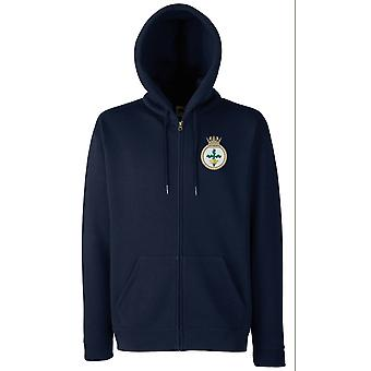 HMS Nottingham Embroidered Logo - Official Royal Navy Zipped Hoodie Jacket