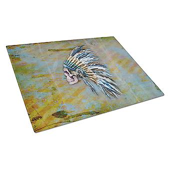 Day of the Dead Indian Chief Skull  Glass Cutting Board Large
