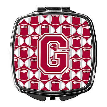 Buchstabe G Fußball Crimson, grauen und weißen Taschenspiegel