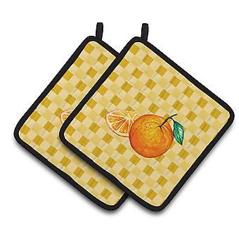 Oranges and Slice on Basketweave Pair of Pot Holders