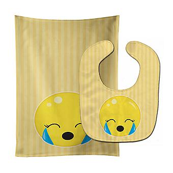 Carolines Treasures  BB8734STBU Crying Face #2 Baby Bib & Burp Cloth