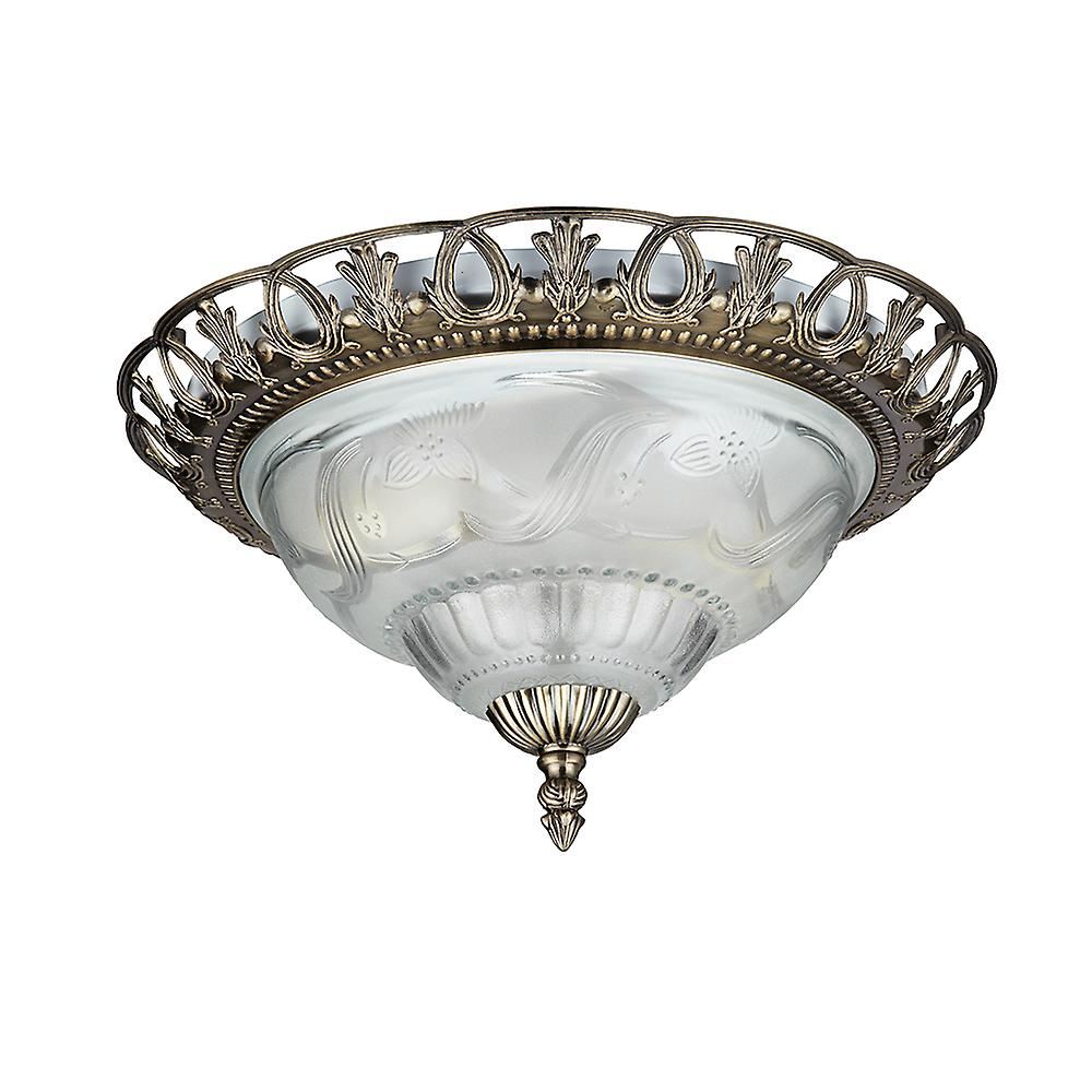 Searchlight 7045-13 Traditional Antique Brass Flush Ceiling Light