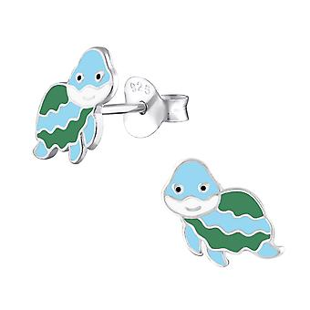 Turtle - 925 Sterling Silver Colourful Ear Studs - W31337x