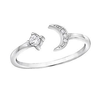 Open Moon - 925 Sterling Silver Jewelled Rings - W30524x