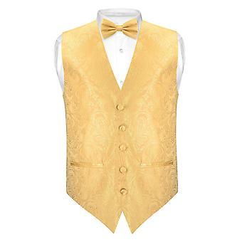 Men's Paisley SLIM FIT Dress Vest Bow Tie BOWTie Handkerchief Set