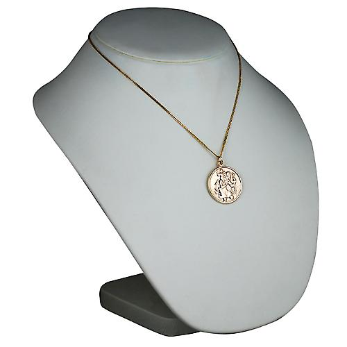 9ct Gold 30mm round St Christopher Pendant with a curb Chain 18 inches