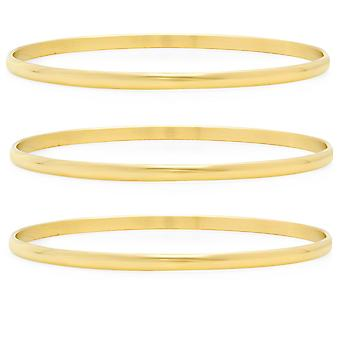 Ladies Set Of 3 18K Gold Plated Stainless Steel Bangles