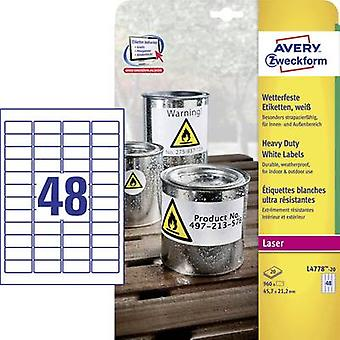 Avery-Zweckform L4778-20 Labels (A4) 45.7 x 21.2 mm Polyester fi