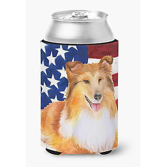 Carolines Treasures  BB9720CC Sheltie Patriotic Can or Bottle Hugger