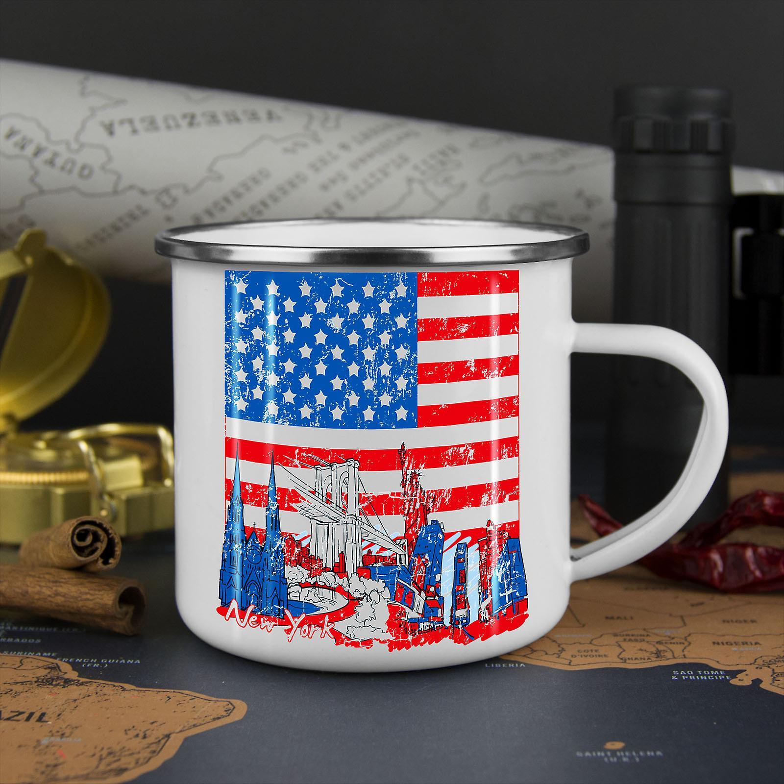 Flag America New York USA NEW WhiteTea Coffee Enamel Mug10 oz | Wellcoda
