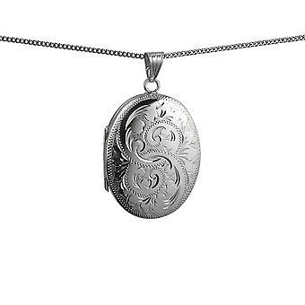 Sølv 35x26mm oval hånd gravert 4 bilde familie medaljong med en fortauskant kjeden 24 tommer