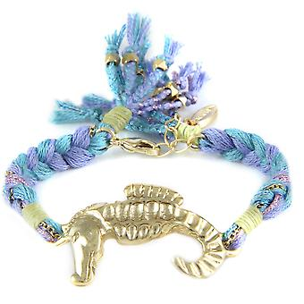 Ettika - Bracelet in yellow gold seahorse and cotton ribbons braided blue