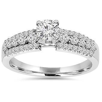 5/8ct Pave Diamond Engagement Ring 14K White Gold