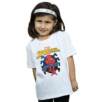 Marvel Girls Spider-Man Web Shooting Emblem Logo T-Shirt