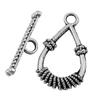 Packet 10 x Antique Silver Tibetan Silver Drop & Toggle Clasps 14 x 25mm HA06200