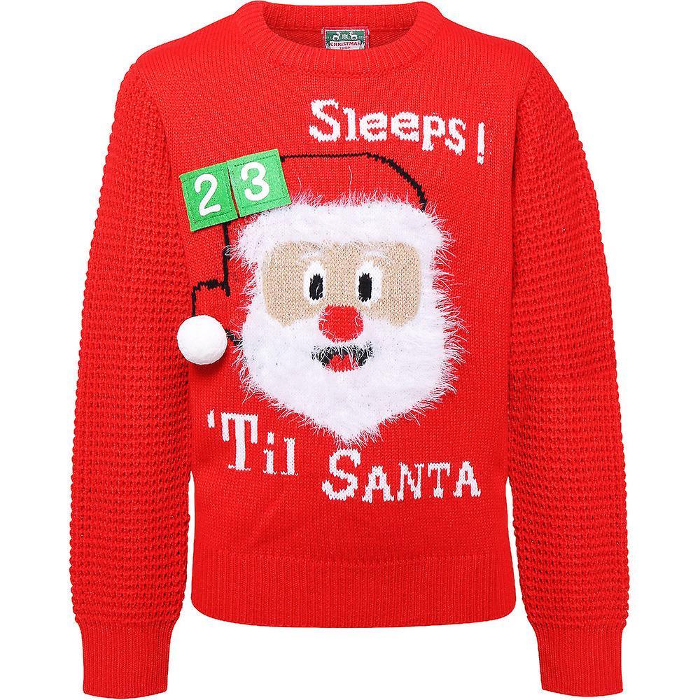 Christmas Boys & Girls 3D Countdown Santa Festive Sweater Jumper