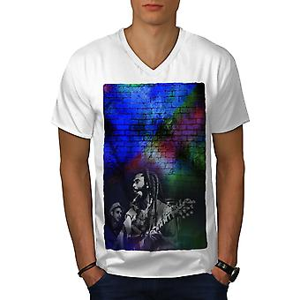 Bob Marley Photo Men WhiteV-Neck T-shirt | Wellcoda