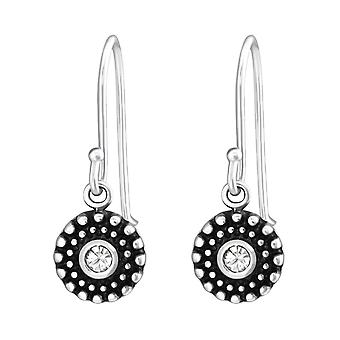 Oxidized - 925 Sterling Silver Crystal Earrings