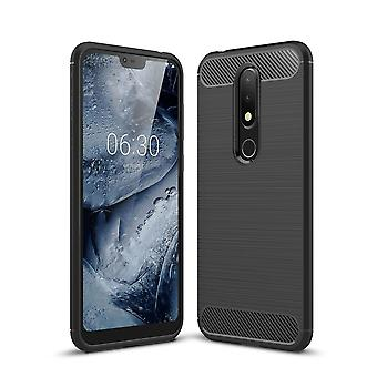 Nokia X 6 cover silicone black carbon look case TPU mobile cover of bumper 211784