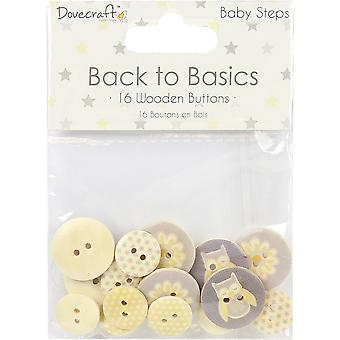Dovecraft Back To Basics Wooden Buttons 16/Pkg-Baby Steps