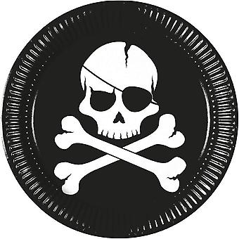 Pirates black skull pirate skull and crossbones party plates Ø 23 cm 8 piece children birthday theme party