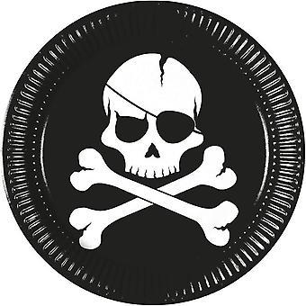 أسود القراصنة الجمجمة جمجمة وعظمتين متقاطعتين الطرف لوحات Ø 23 سم قطعة 8 الأطفال عيد ميلاد موضوع حزب القراصنة