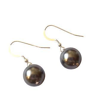 Gemshine - ladies - earrings - beads - Tahiti - grey - gold plated 12 mm