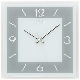 Wall clock quartz analog grey rectangular square with glass quietly without ticking 30 x 30 cm