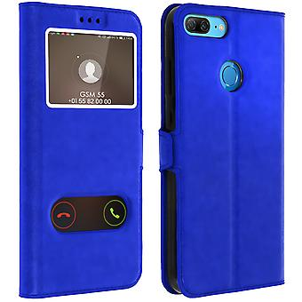 Double window flip standing case for Honor 9 Lite with TPU shell - Blue