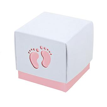 10 Pink Baby Footprint Boxes 60mm x 60mm x 600mm - Baby Showers