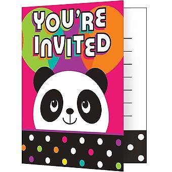 Panda partij uitnodigingen met enveloppen 8 stuk Panda-Feestdecoratie verjaardag