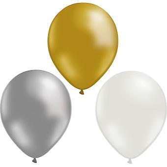 12-pack de globos oro, plata y blanco-30 cm (12