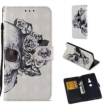 Sony Xperia XZ2 Wallet Pouch-Flowered Skull