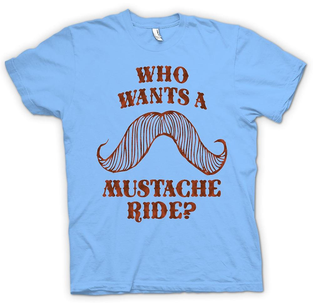 Mens T-shirt - Who Wants A Moustache Ride - Quote