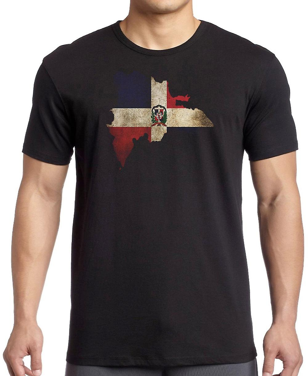 Dominican Republic Flag Map T Shirt  - 5xl