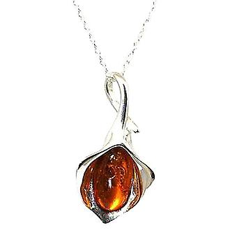 Toc Sterling Silver Amber Lily Flower Pendant on 18 Inch Chain