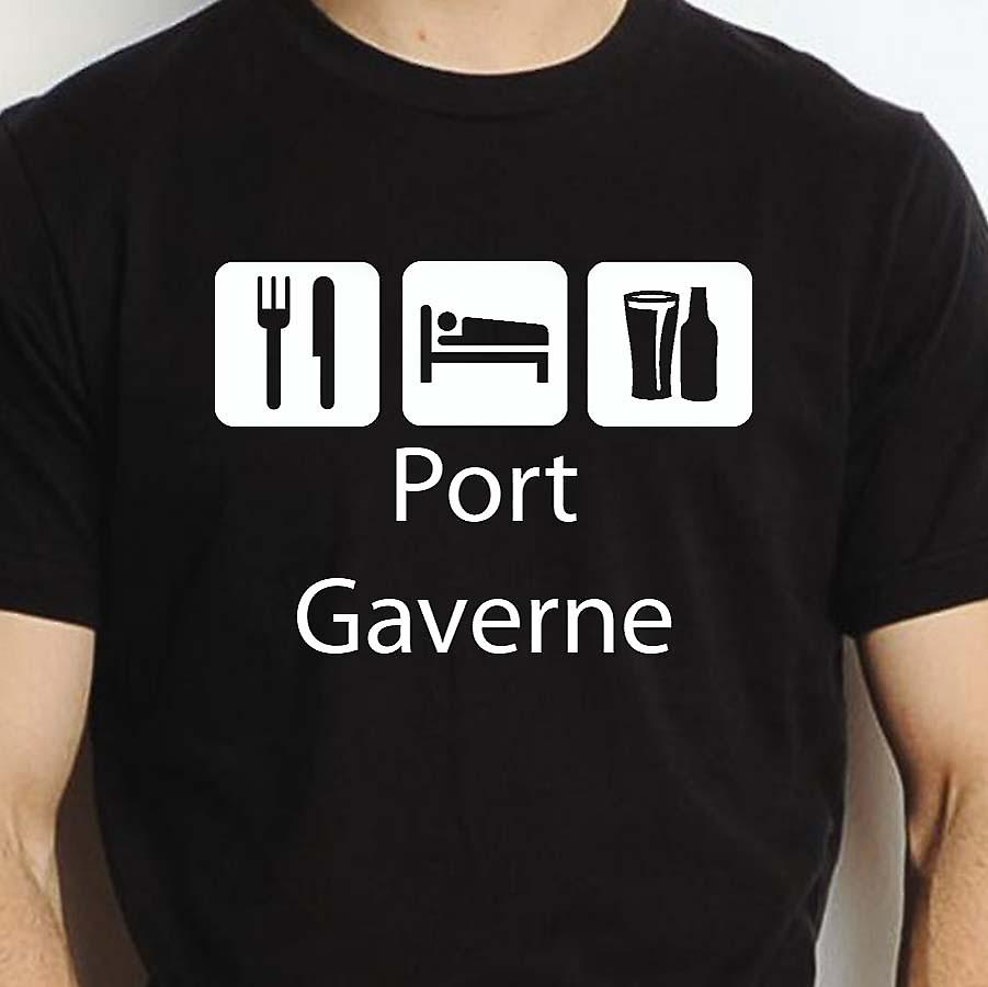 Eat Sleep Drink Portgaverne Black Hand Printed T shirt Portgaverne Town