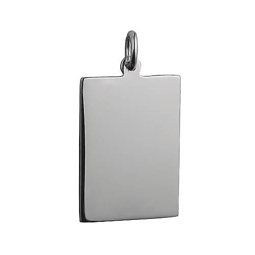 Silver 25x18mm plain rectangular Disc