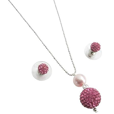 Rose Pave Ball Pendant Earrings Set For Wedding & Gifts
