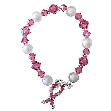Breast Cancer Awareness Bracelet Swarovski Crystals Silver Beads