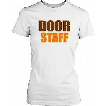 Door Staff in Brown and Orange Text Ladies T Shirt