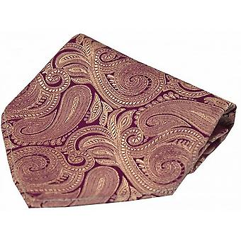 David Van Hagen Luxury Paisley Silk Handkerchief - Purple/Fuchsia
